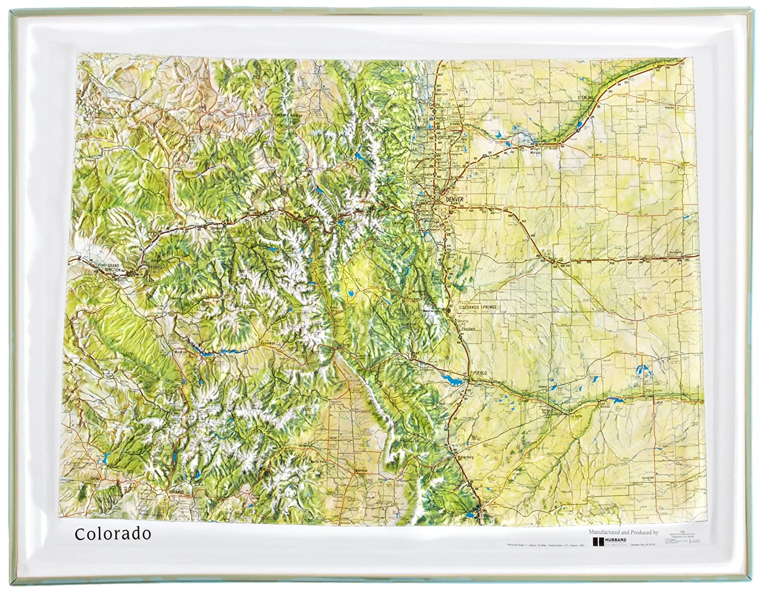 American Educational Colorado Natural Color Relief Map with Gold Plastic Frame, 17-1/2' Length x 22-1/2' Width 17-1/2 Length x 22-1/2 Width K-CO2217-FG