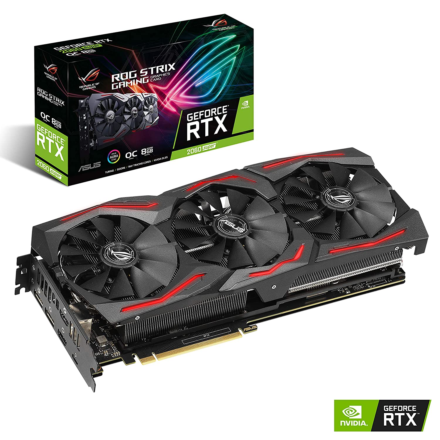 ASUS ROG STRIX GeForce RTX 2060 SUPER Overclocked 8G GDDR6 HDMI DisplayPort USB Type-C Gaming Graphics Card (ROG-STRIX-RTX-2060S-O8G-GAMING)