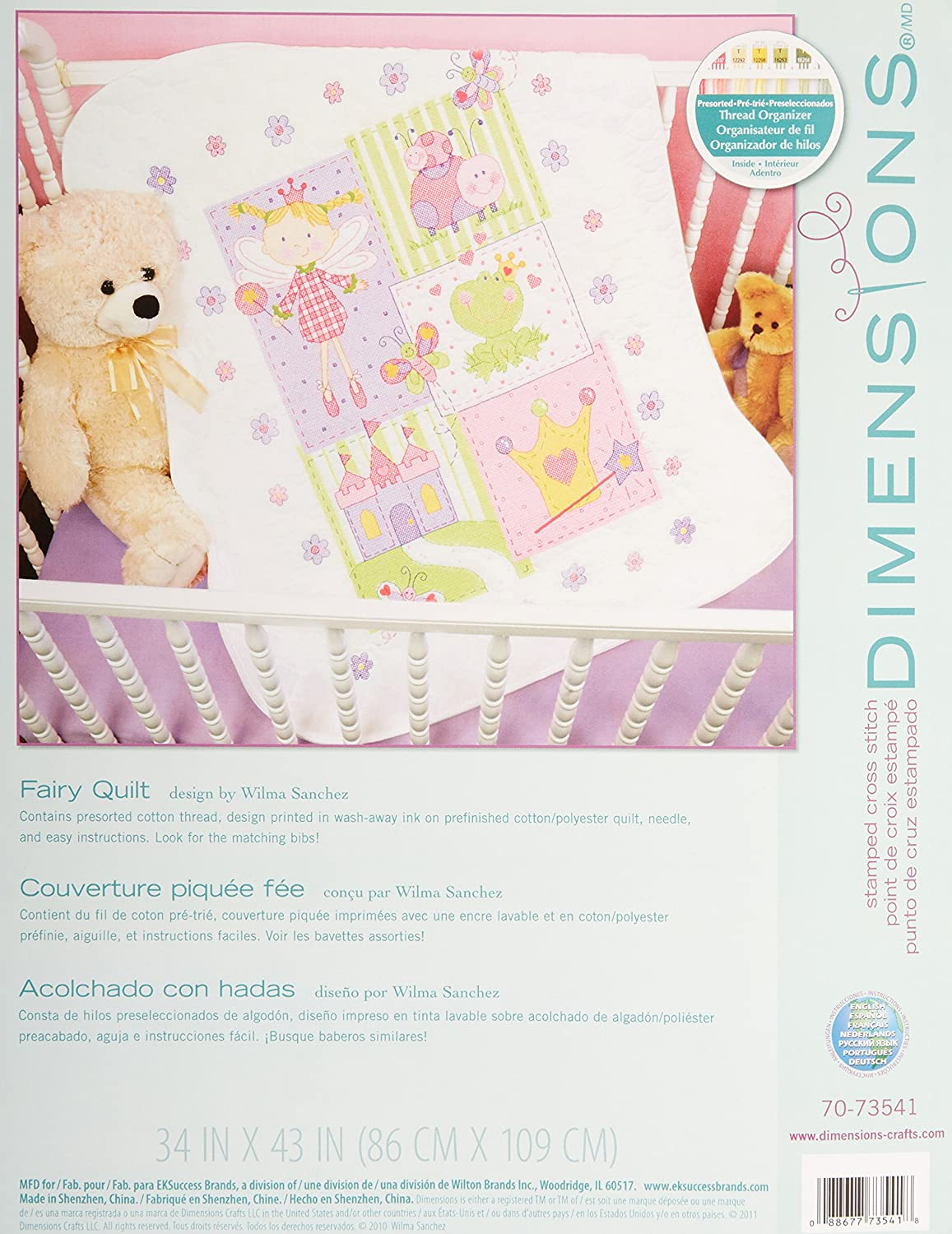Baby Hugs Fairy Quilt Stamped Cross Stitch Kit-34