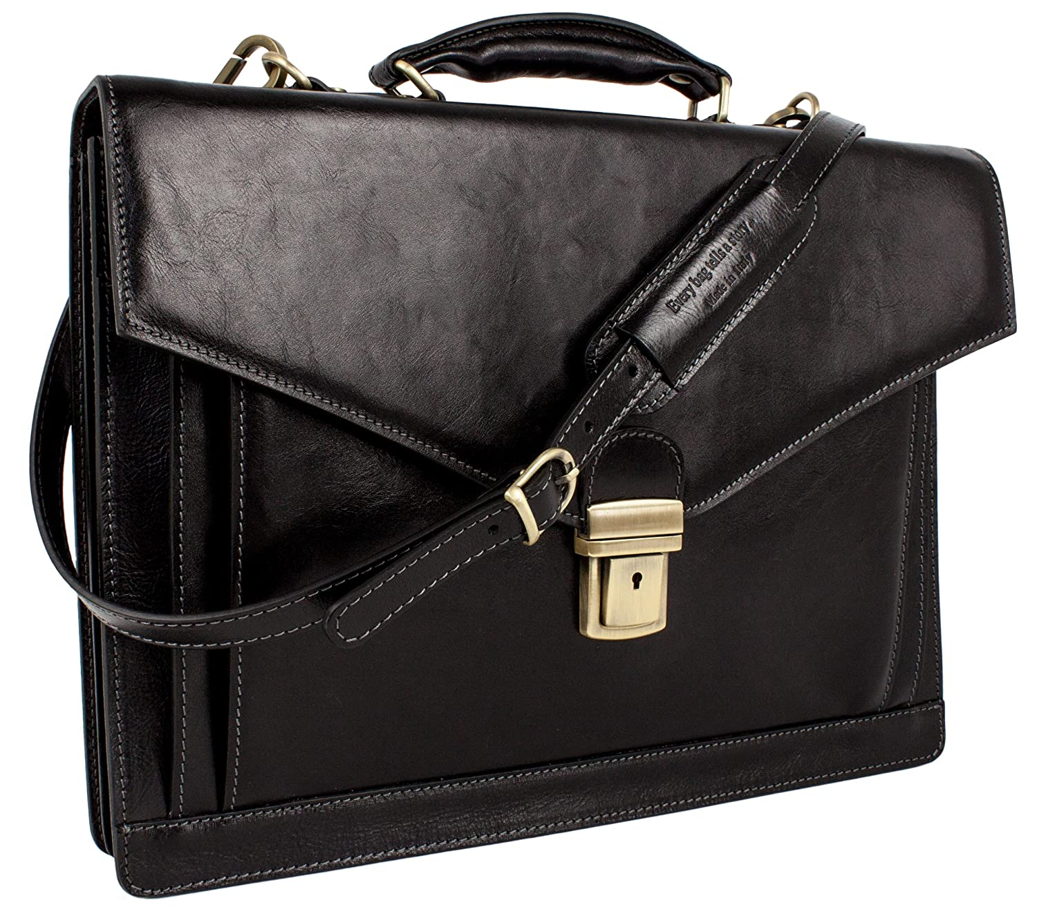 325f5acf47 Amazon.com  Leather Briefcase Laptop Bag Medium Attache Unisex Black  Classic Style - Time Resistance  Office Products