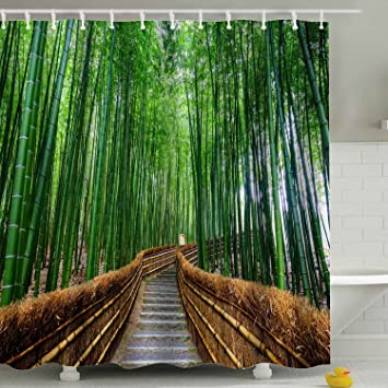 Amazon.com: Green Nature Bamboo Shower Curtain Fabric,Country Road ...