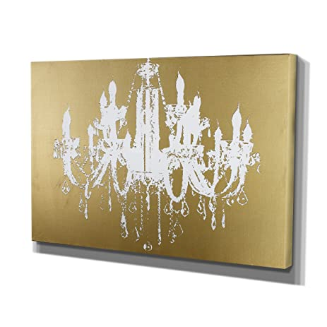 MasterPieces Graphic Wall Art On Wrapped Canvas, U0026quot;Golden Champagne  Diamond Chandelieru0026quot;