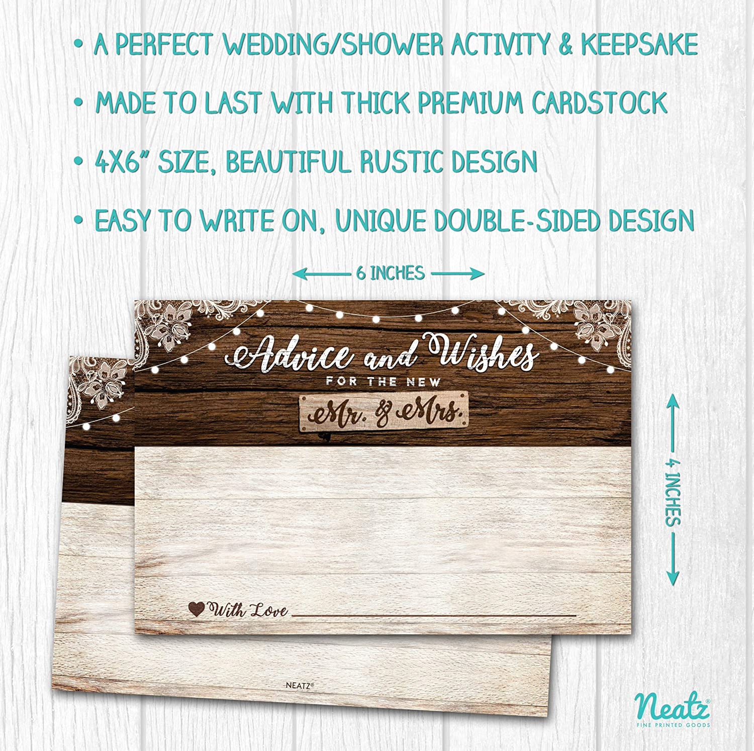 Bridal Shower Games Rustic Wedding Decorations Bridal Shower Decorations 50 Rustic Wedding Advice Cards /& Well Wishes for the Bride and Groom