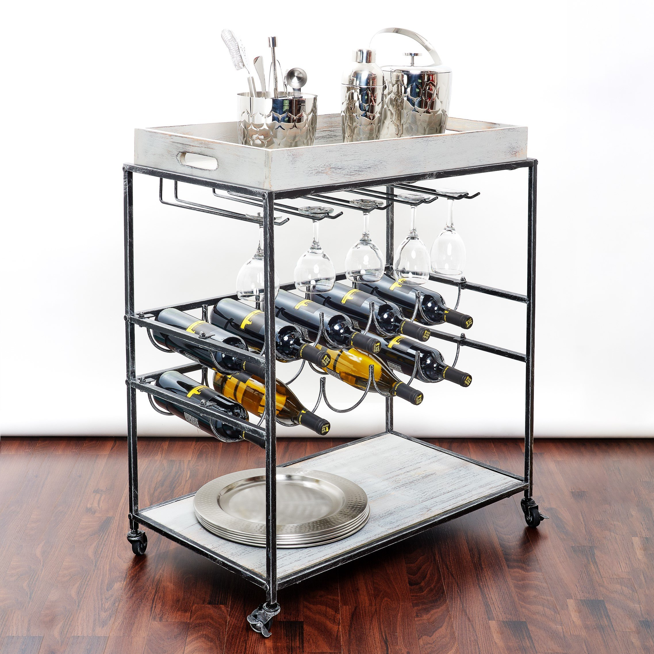 Old Dutch ''Avalon'' Wine and Serving Cart, Antique Pewter /Barnwood Gray, 28'' x 16'' x 32'' by Old Dutch (Image #2)
