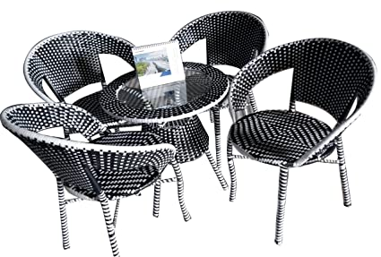 QASBA ELITE four Seater Garden patio set Black And White 1+4 Out Door Set (4 CH+1T and Glass)