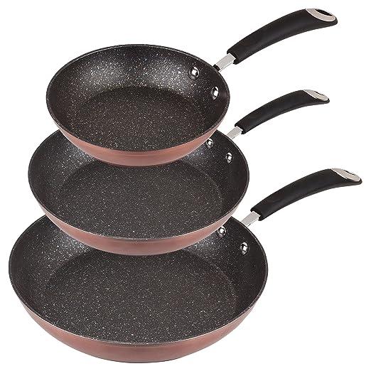 San Ignacio - Set de Sartenes SIP color cobre- Ø20/24/28 cms., aluminio forjado, mango revestido con silicona atérmica, inducción: Amazon.es: Hogar