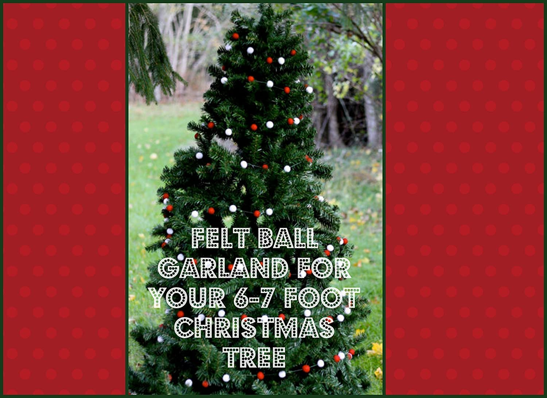 Amazon.com: Wool Felt Ball Garland for your 6-7 foot Christmas tree ...