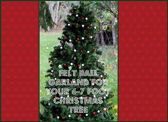 wool felt ball garland for your 6 7 foot christmas tree four 12 foot - Garland For Christmas Tree