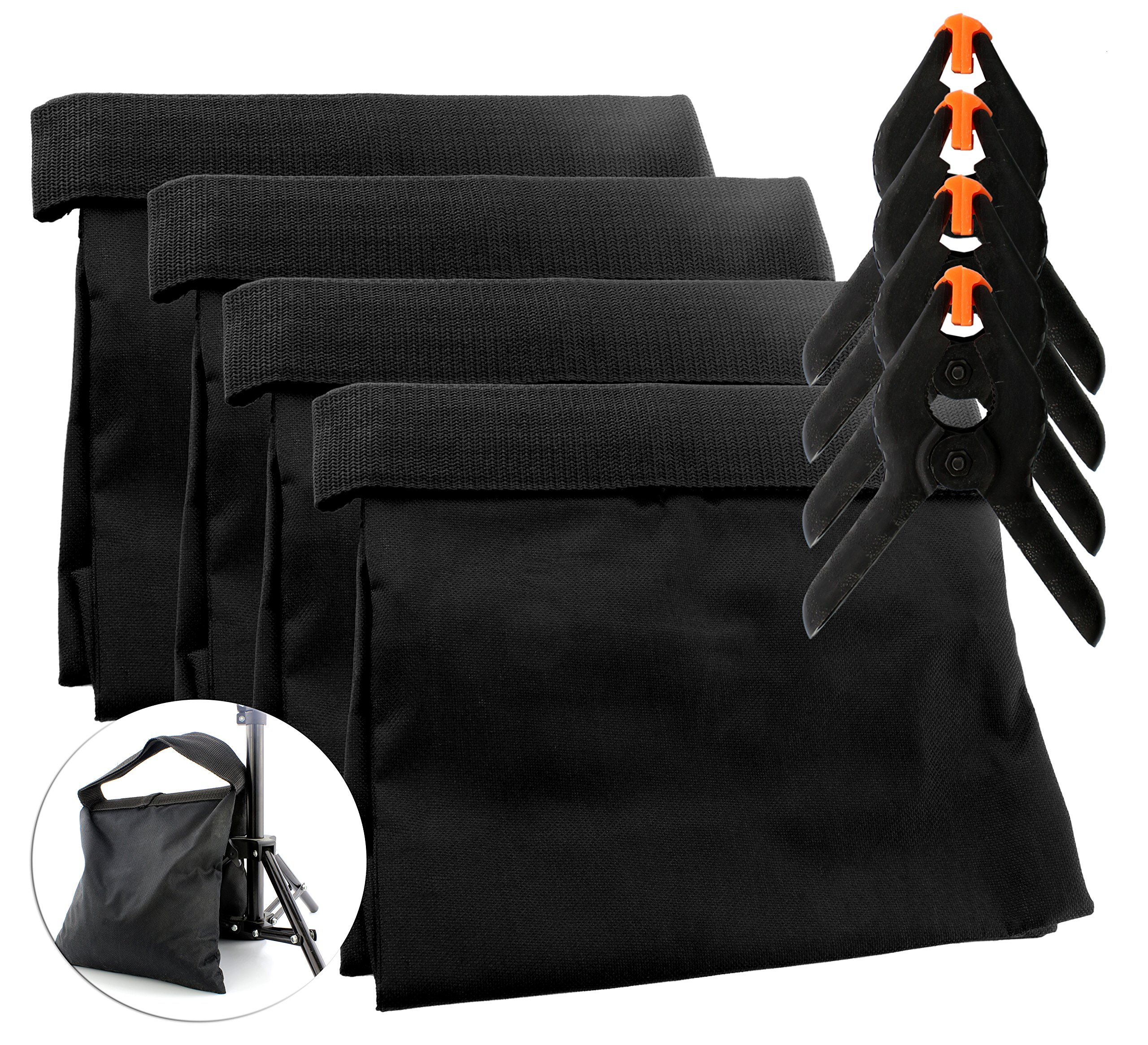 8-Piece Set Photography Sand Bags w/Clips (4 Bags, 4 Clips); Saddlebag Design Sandbags for Photo Studio Video Light Stands (Black, 4-Pack) by Cornucopia Brands