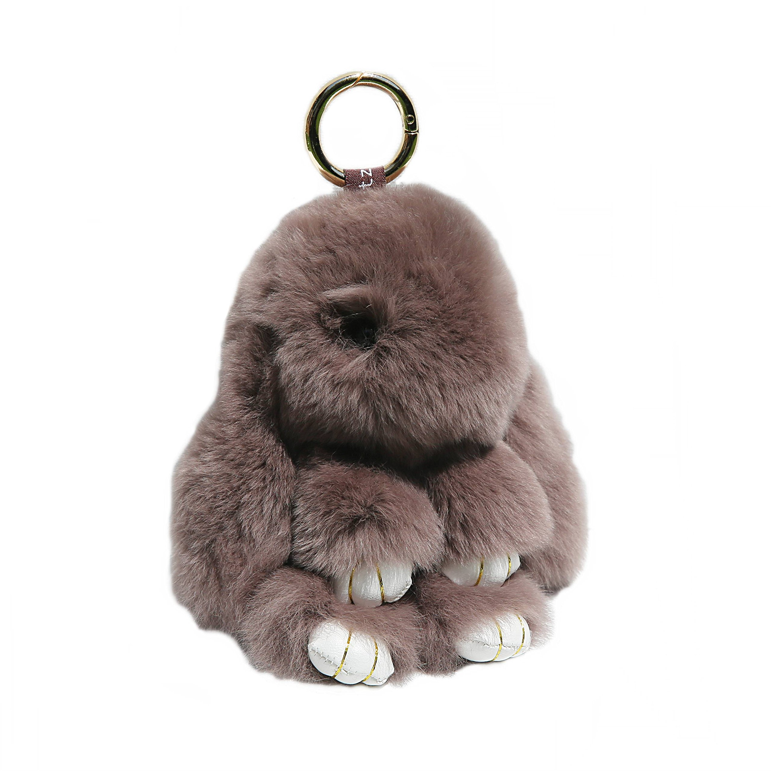 RitzyBay Handmade Rex Rabbit Fur Bunny Keychain with RitzyBay GiftBox (Large, DustyBrown)