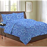 Bombay Dyeing 3098 96 TC Cotton Double Bedsheet with 2 Pillow Covers - Emroidered, Blue