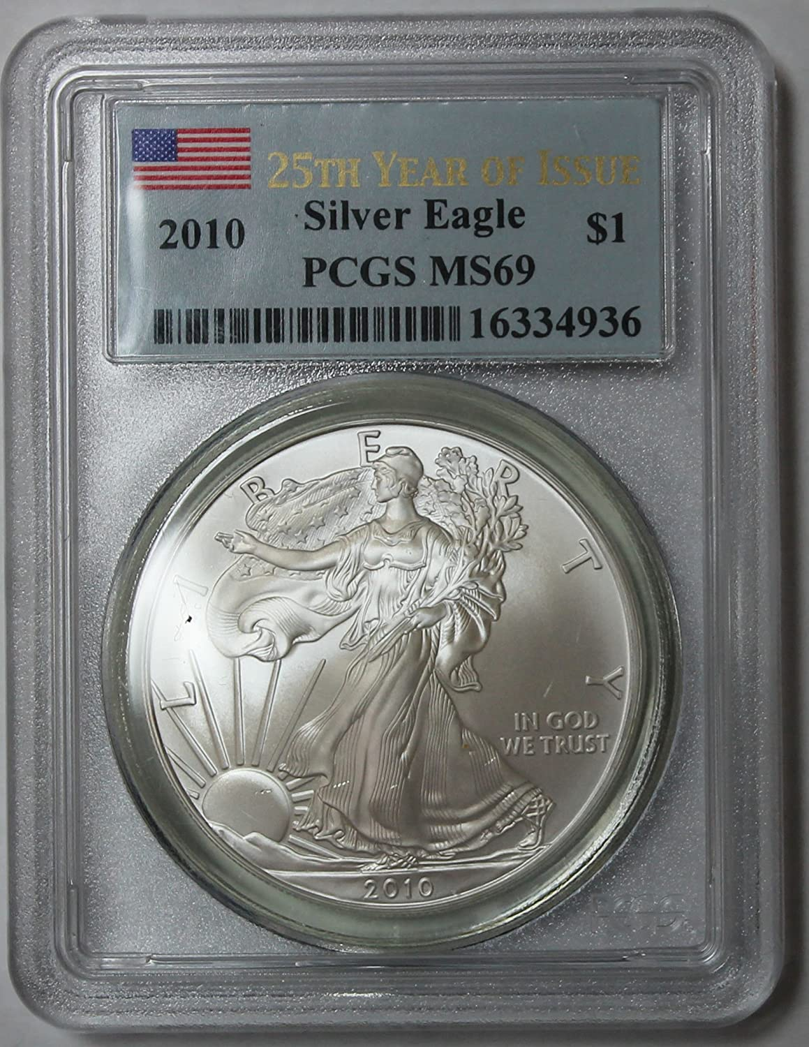 Flag Frame 1988 1oz Silver Eagle PCGS MS69