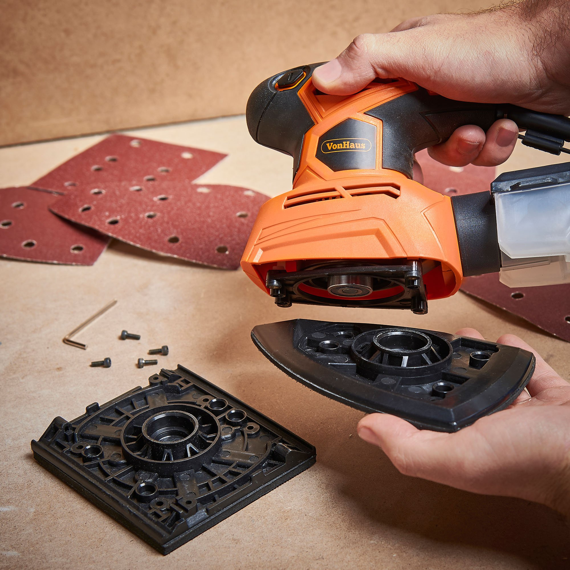 VonHaus 1.1A 2 in 1 Sheet & Detail Sander - 14000 RPM with 6 Sanding Sheets Included - Multi-Use, Compact Lightweight Design with Dust Extraction System and 6ft Power Cord by VonHaus (Image #4)