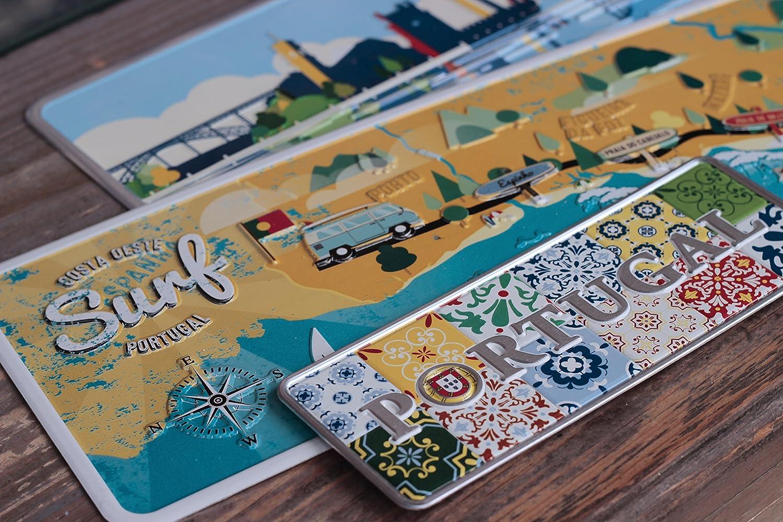 /Portugal/ /Placa decorativa de metal 6,25/x 16,50/cm/ Painel azulejo Mini/ /Producto decorativo con partes de relieve