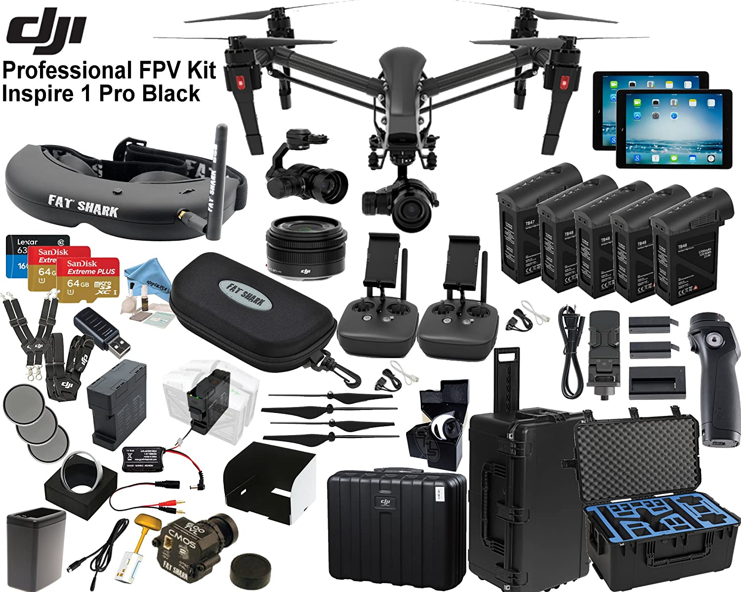 Dji Inspire 1 Pro Quadcopter Black Edition With Fpv Zenmuse X5 4k 3 Axis Professional Eagle Eye Package Includes 2 Controllers Ipads Fatshark Attitude V3 Goggles