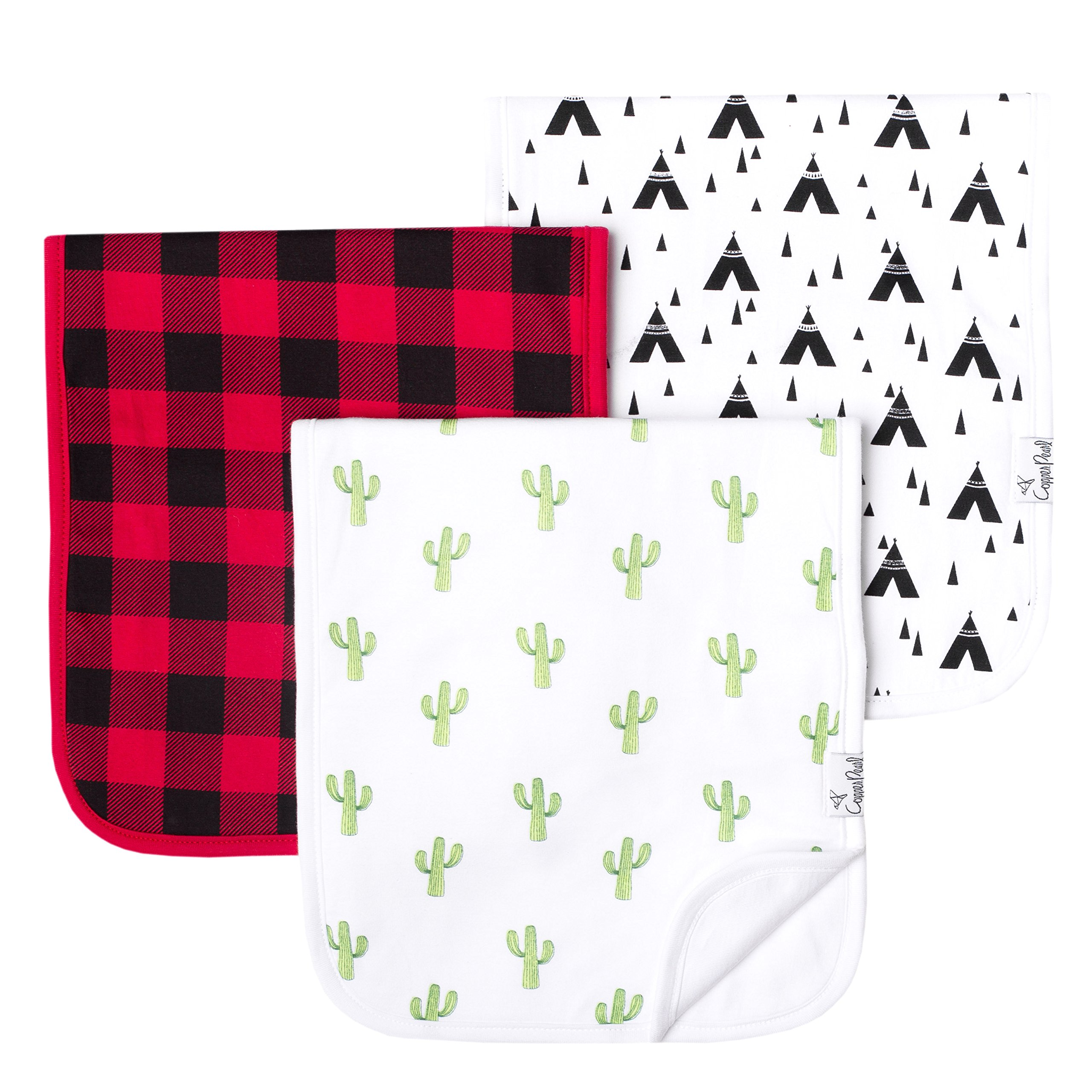 """Baby Burp Cloth Large Absorbent 3 Pack Gift Set Boys """"Phoenix"""" by Copper Pearl"""
