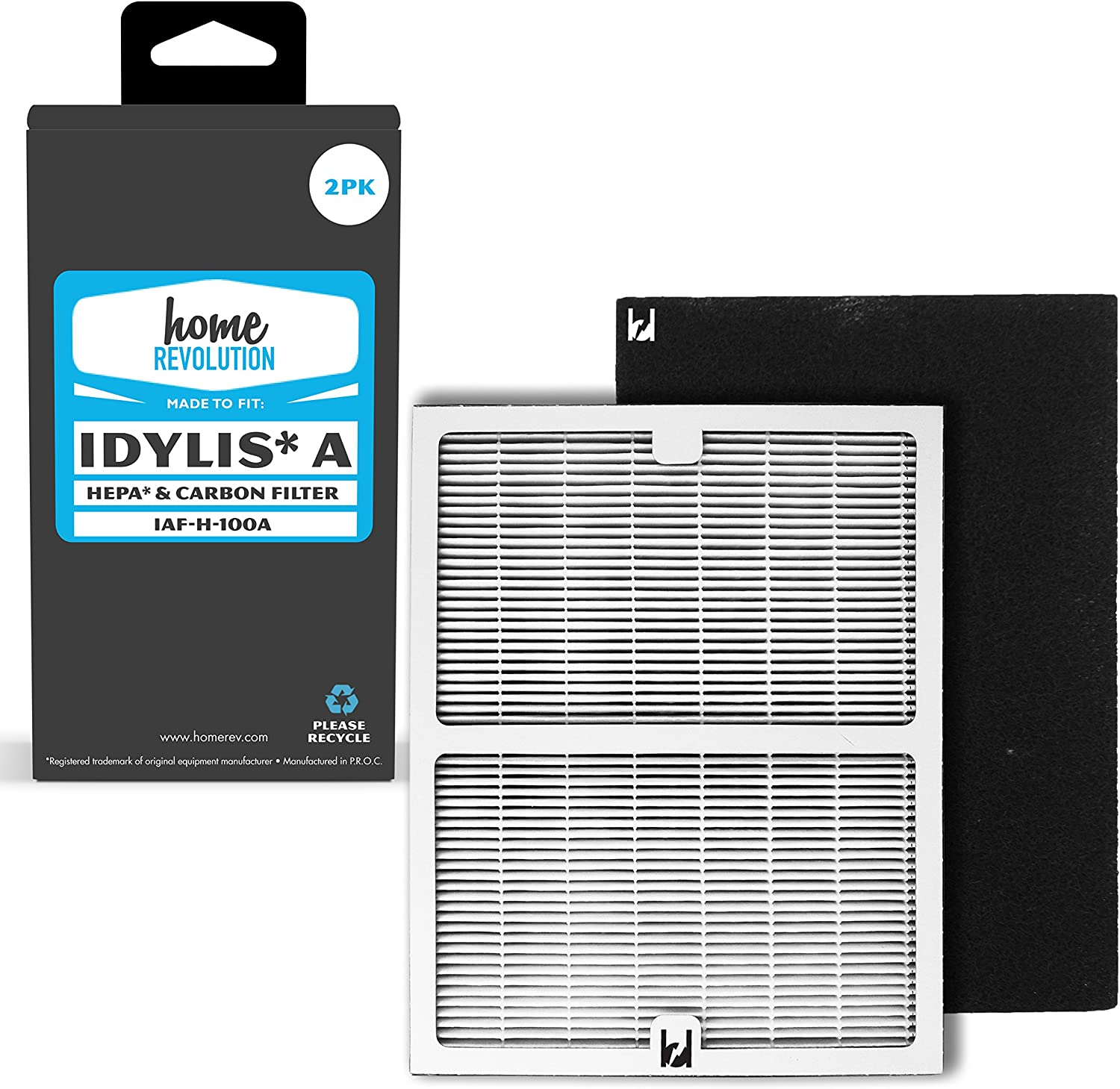 Home Revolution 2 Replacement HEPA + Carbon Filters, Fits Idylis IAP-10-100, IAP-10-150 Air Purifier and Part # IAF-H-100A.