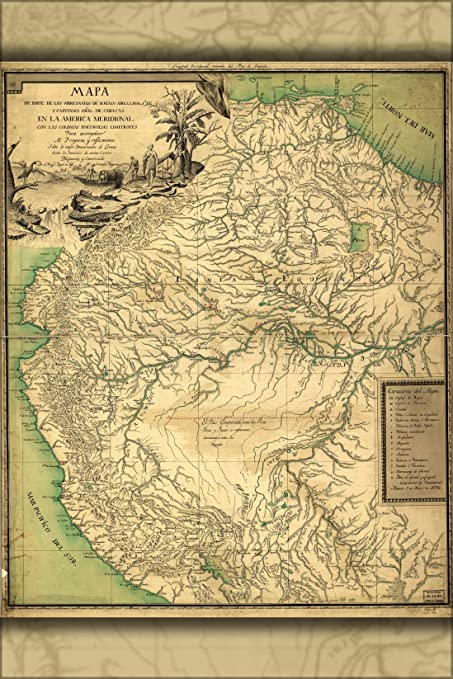 42x63 Poster; Map Of Northern South America 1796 In Spanish