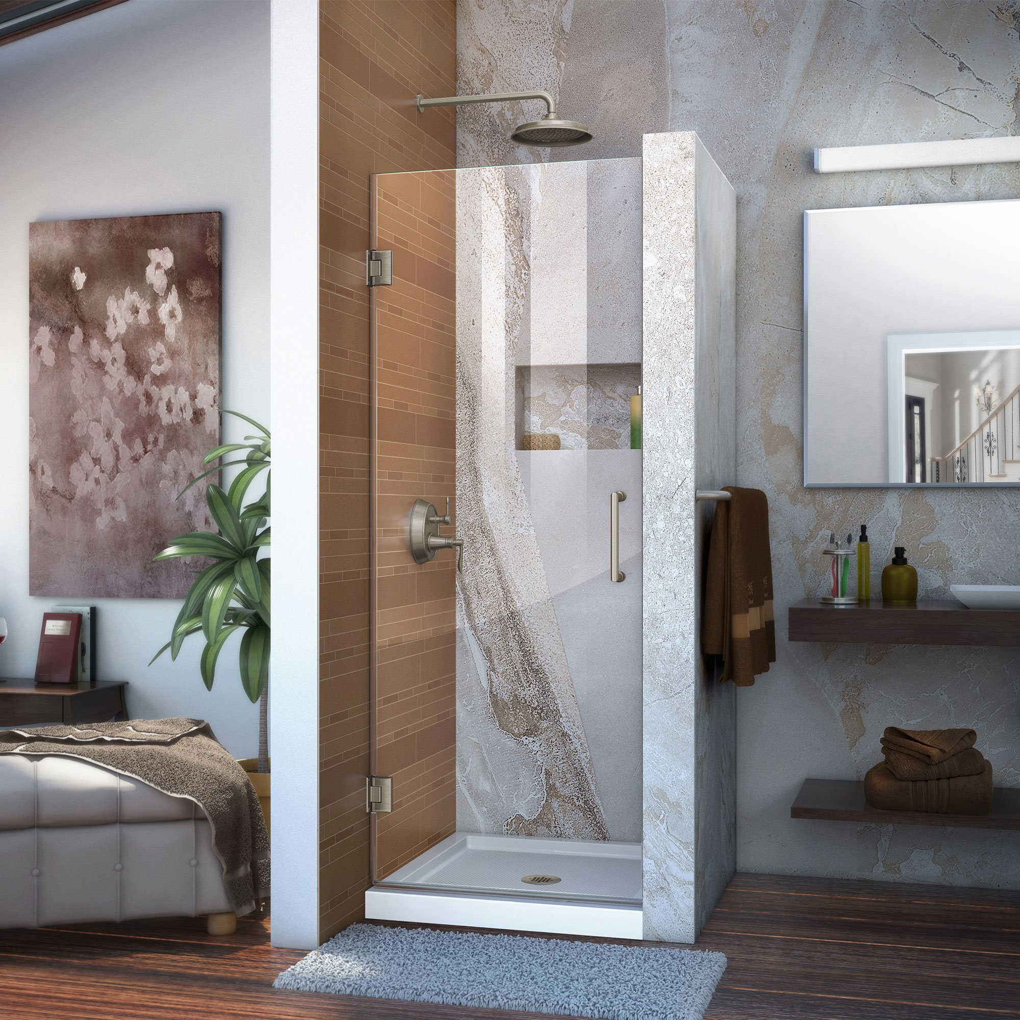 DreamLine Unidoor 28 in. Width, Frameless Hinged Shower Door, 3/8'' Glass, Brushed Nickel Finish by DreamLine