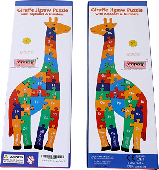 Chunky Wooden Giraffe Jigsaw Alphabet Animal Puzzle Pre-school Toy Game Kids