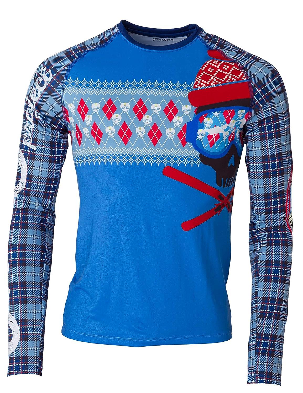 FreiSein Langarm Funktions-Shirt Base-Layer Lowrider (Herren) mit Ski- und Totenkopf Druck Norweger Druck