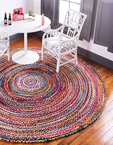 Unique Loom Braided Chindi Collection Casual Modern Multi Round Rug 8 0 x 8 0