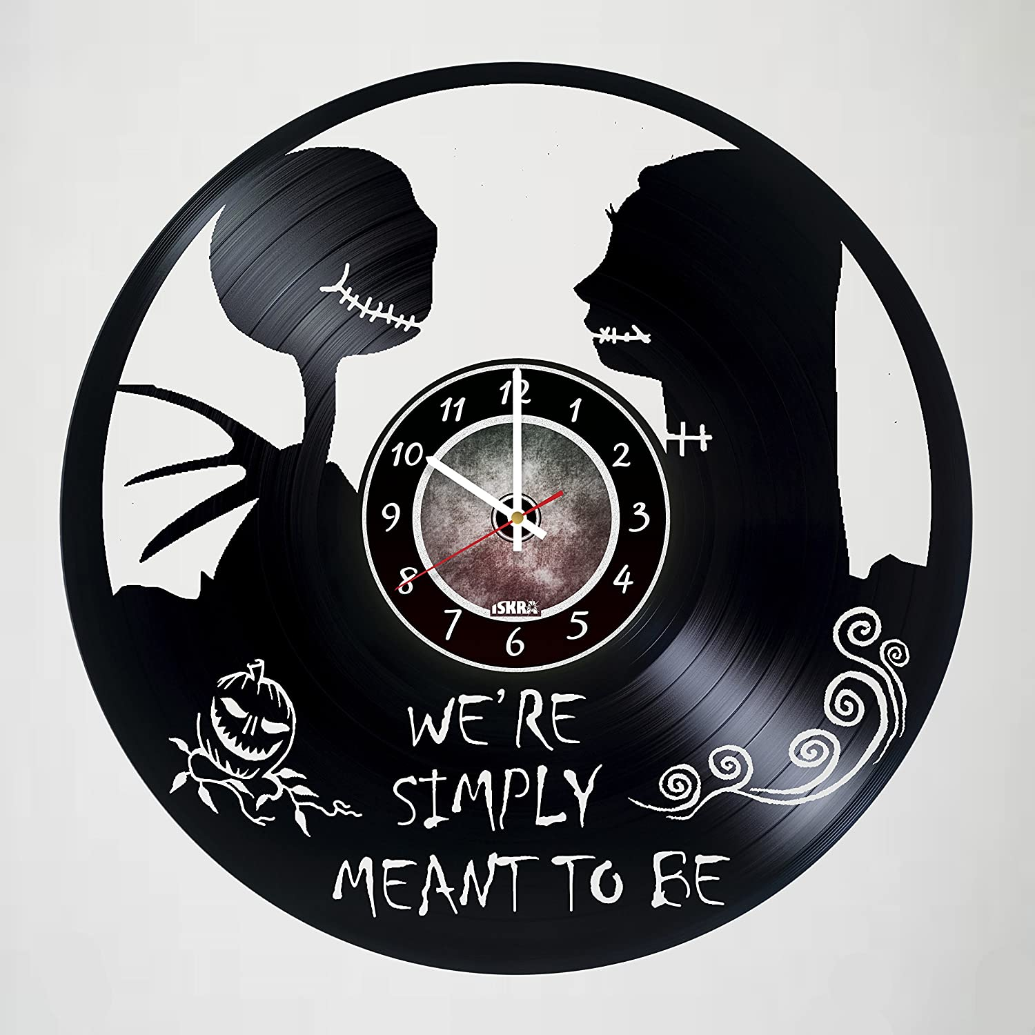 Nightmare before Christmas - Jack Skellington - Artwork vinyl record wall clock gift idea for birthday, christmas, women, men, friends, girlfriend boyfriend and teens - living kids room nursery Iskra Shop IS0037