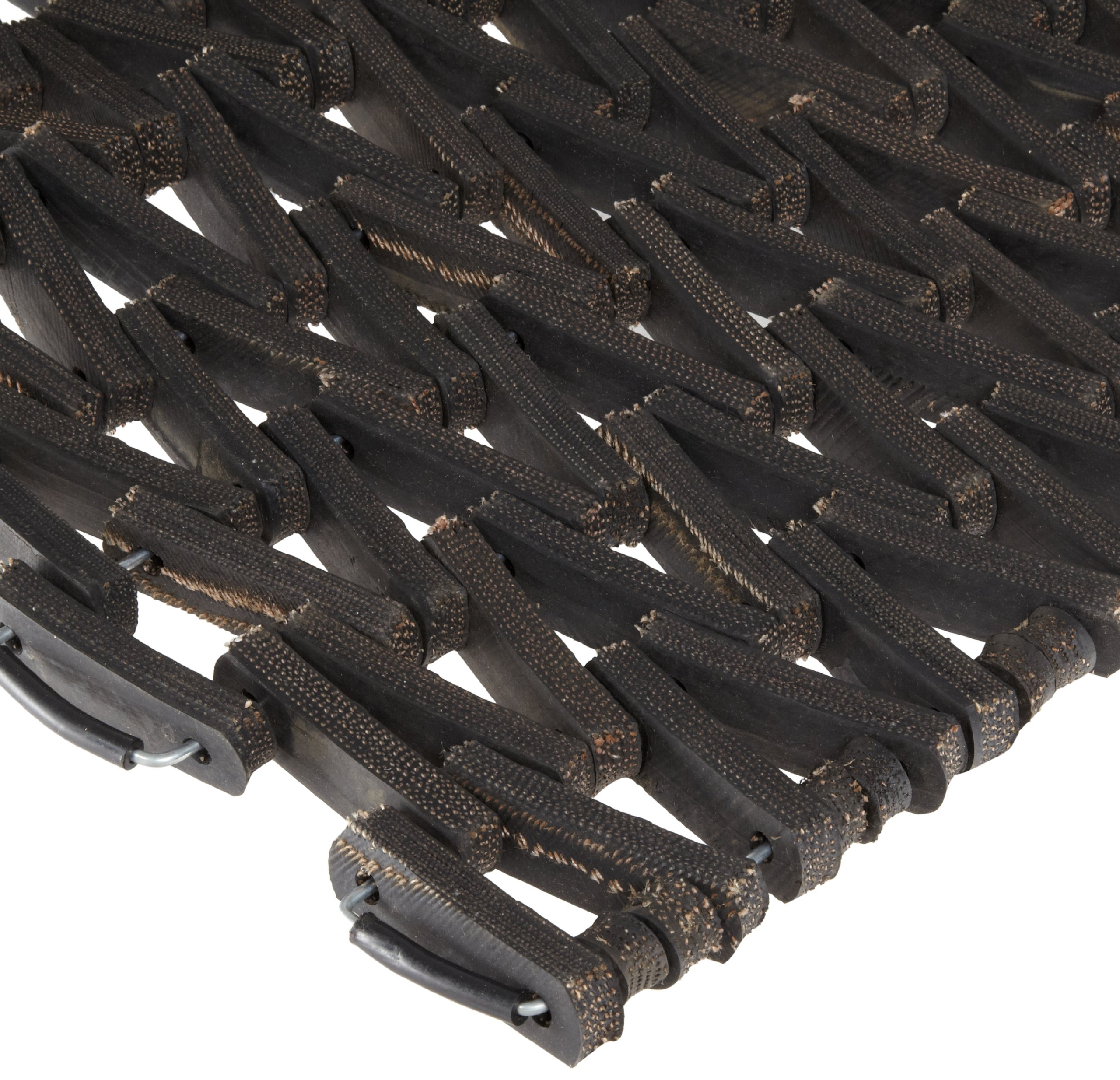 Durable Durite Recycled Tire-Link Outdoor Entrance Mat, Herringbone Weave, 30'' x 48'', Black