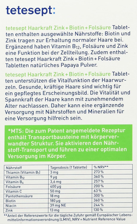 tetesept haarkraft zink biotin folsà ure 30x tabletten 5er pack