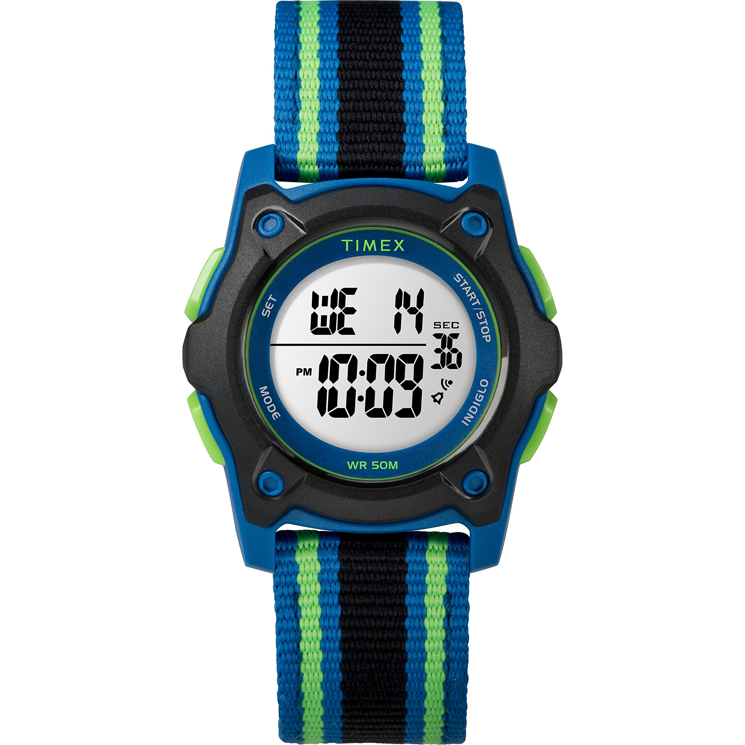 Timex Kids TW7C26000 Time Machines Digital 35mm Blue/Black/Green Double-Layered Nylon Strap Watch by Timex