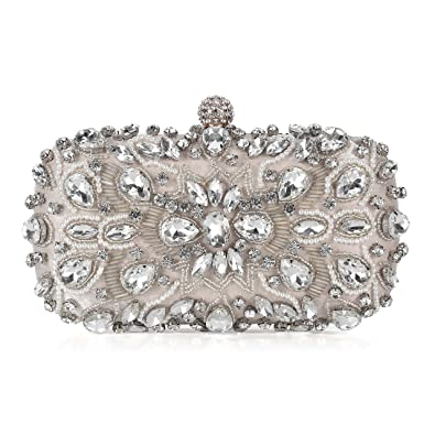 19c2e3950cd UBORSE Women Noble Crystal Beaded Evening Bag Wedding Clutch Purse (Apricot)