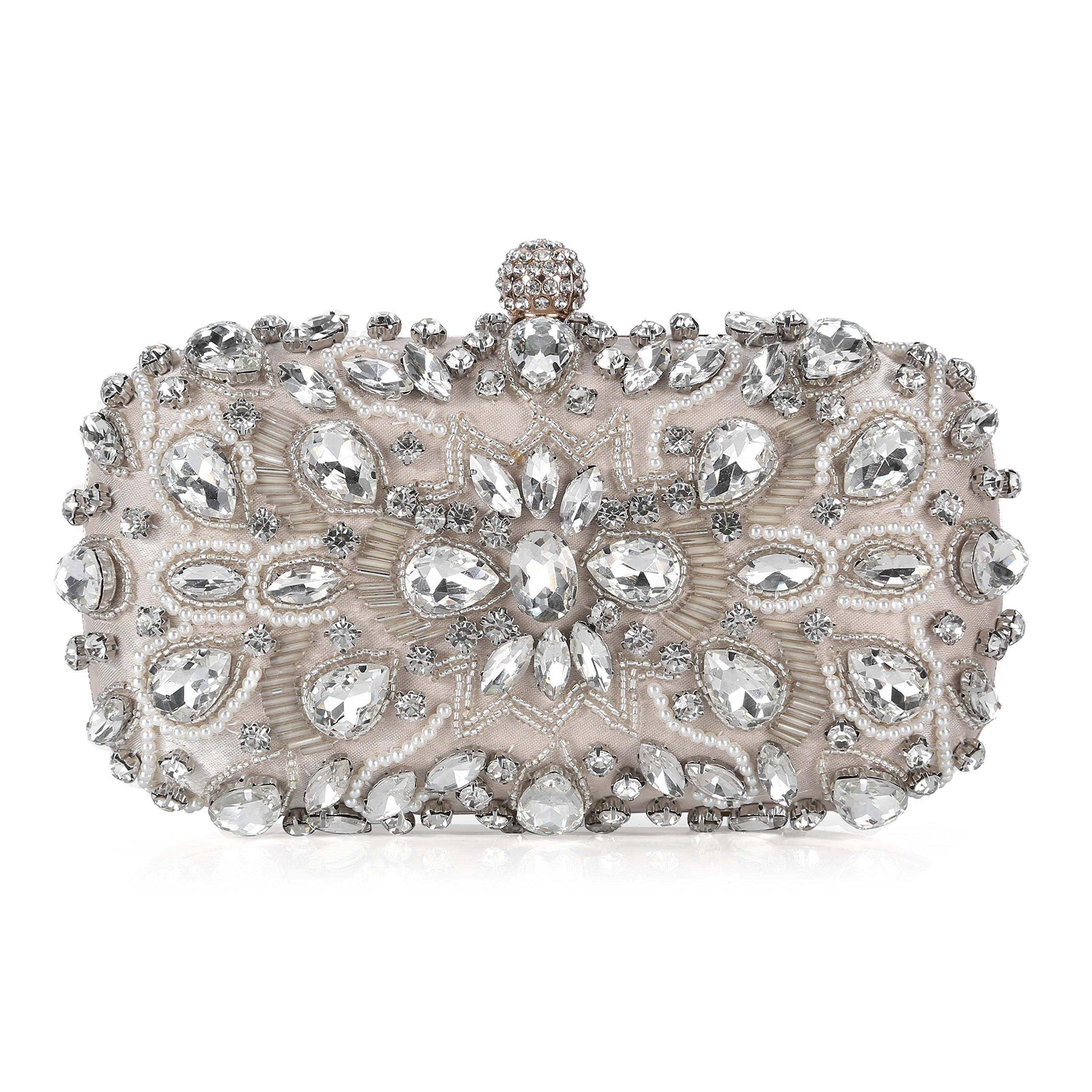 Chichitop Women Crystal Beaded Rhinestone Evening Clutch Bag Wedding Purse Bridal Prom Handbag Party Bag (Apricot)