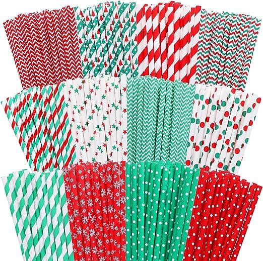 Cooraby - 300 pajitas de papel biodegradables de color rojo y ...