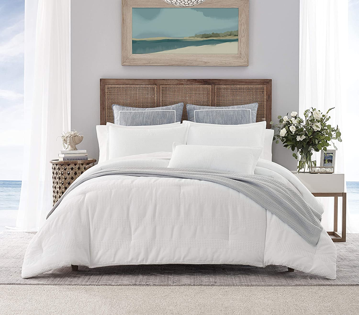 Nautica | Hampton Collection | Cozy & Breathable Cotton Blend Waffle Weave Texture Reversible Comforter Matching Shams, 3-Piece Bedding Set, King, White