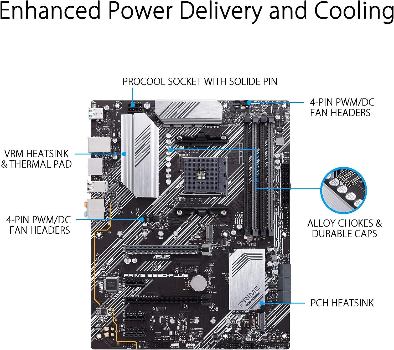 Asus Prime B550 Plus Amd Am4 Atx Motherboard 4k 60hz Computers Accessories