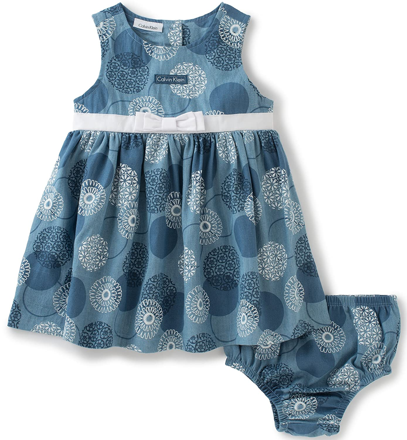 Calvin Klein Baby Girls 2 Pieces Denim Dress With Panty Belted