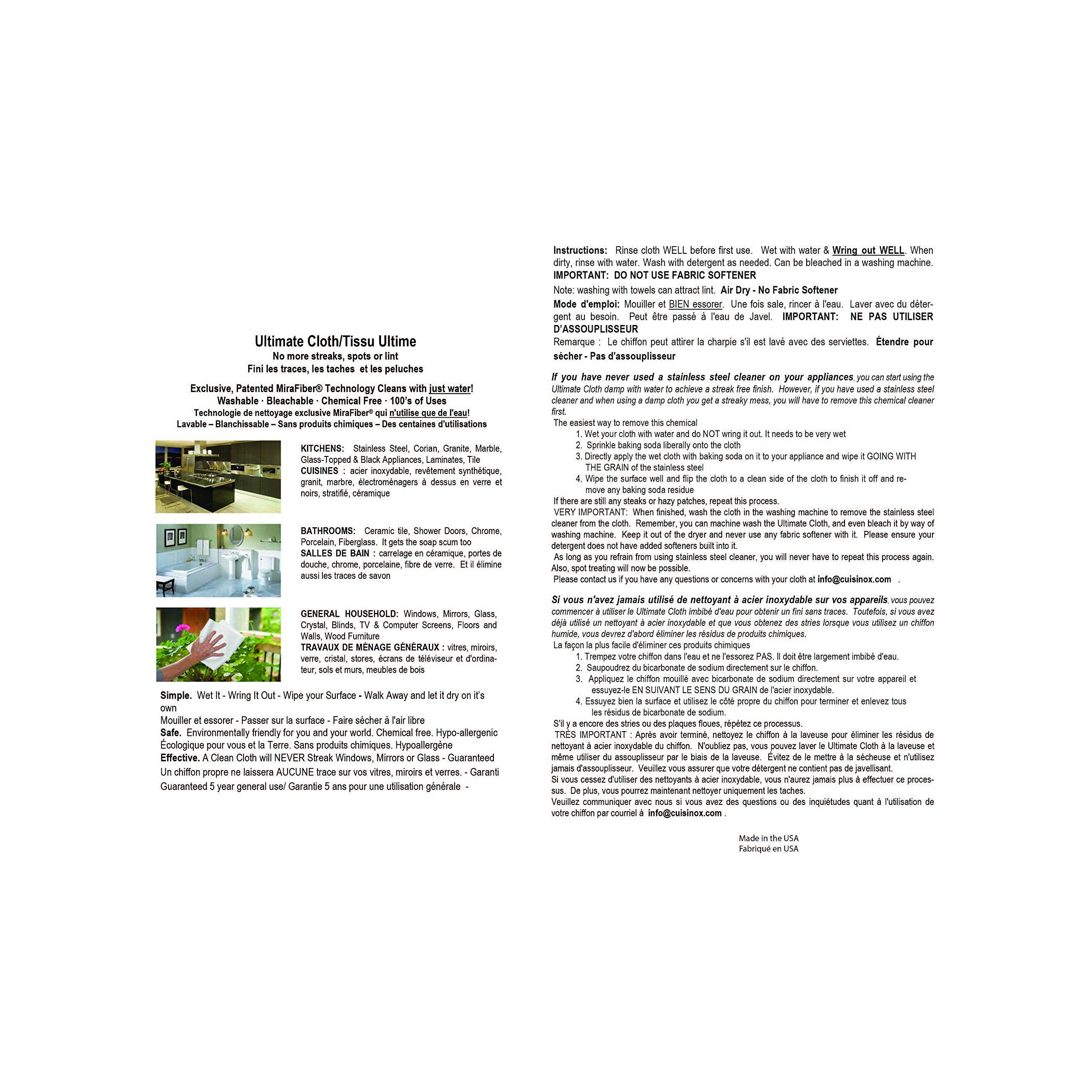 Cuisinox ULT-1315 Streak Free Mirafiber Streak Free Cloth