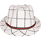 FabSeasons Paper Made Brown Checkered Fedora Hat / Cap