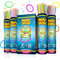 PartySticks Glow Sticks Bulk Party Favors 400pk with Connectors - 8 Inch Glow in The Dark Party Supplies, Neon Party Glow Necklaces and Glow Bracelets