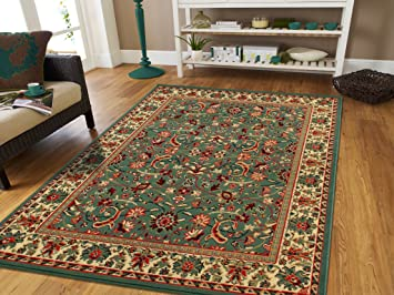 Large Area Rug Oriental Carpet 8x11 Living Room Rugs 8x10 Green Clearance