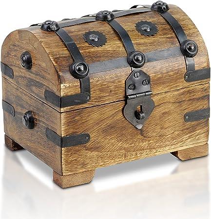 Brynnberg - Caja de Madera Cofre del Tesoro Pirata de Estilo Vintage, Hecha a Mano, Diseño Retro 14x11x13cm: Amazon.es: Hogar