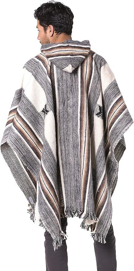 Gamboa Couleurs Noir et Gris avec des Franges /él/égantes Poncho en Alpaga Rustique et Chaud avec Capuche et Lacets