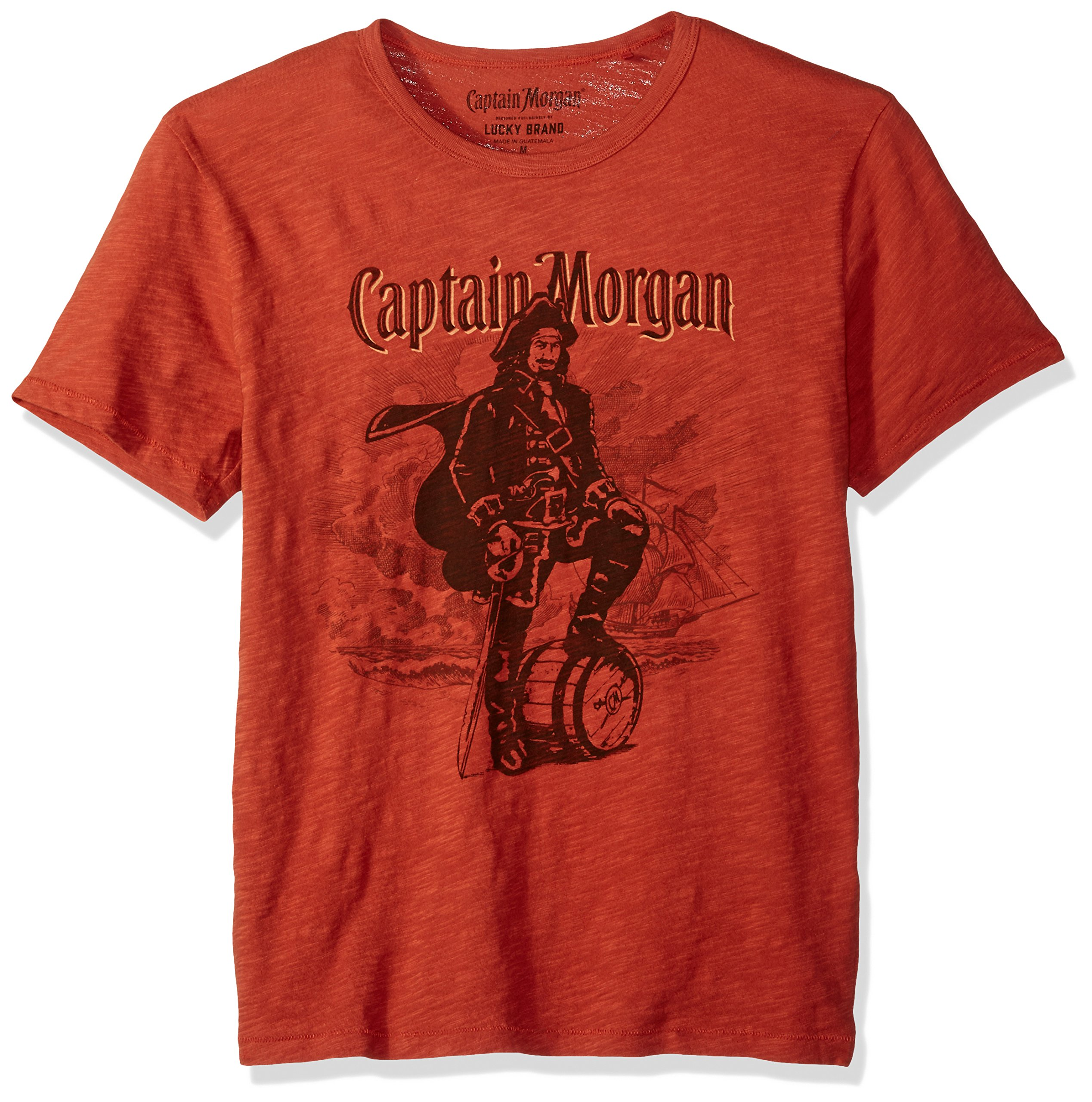 Lucky Brand Men's Captain Morgan Graphic Tee, Barn Red, L