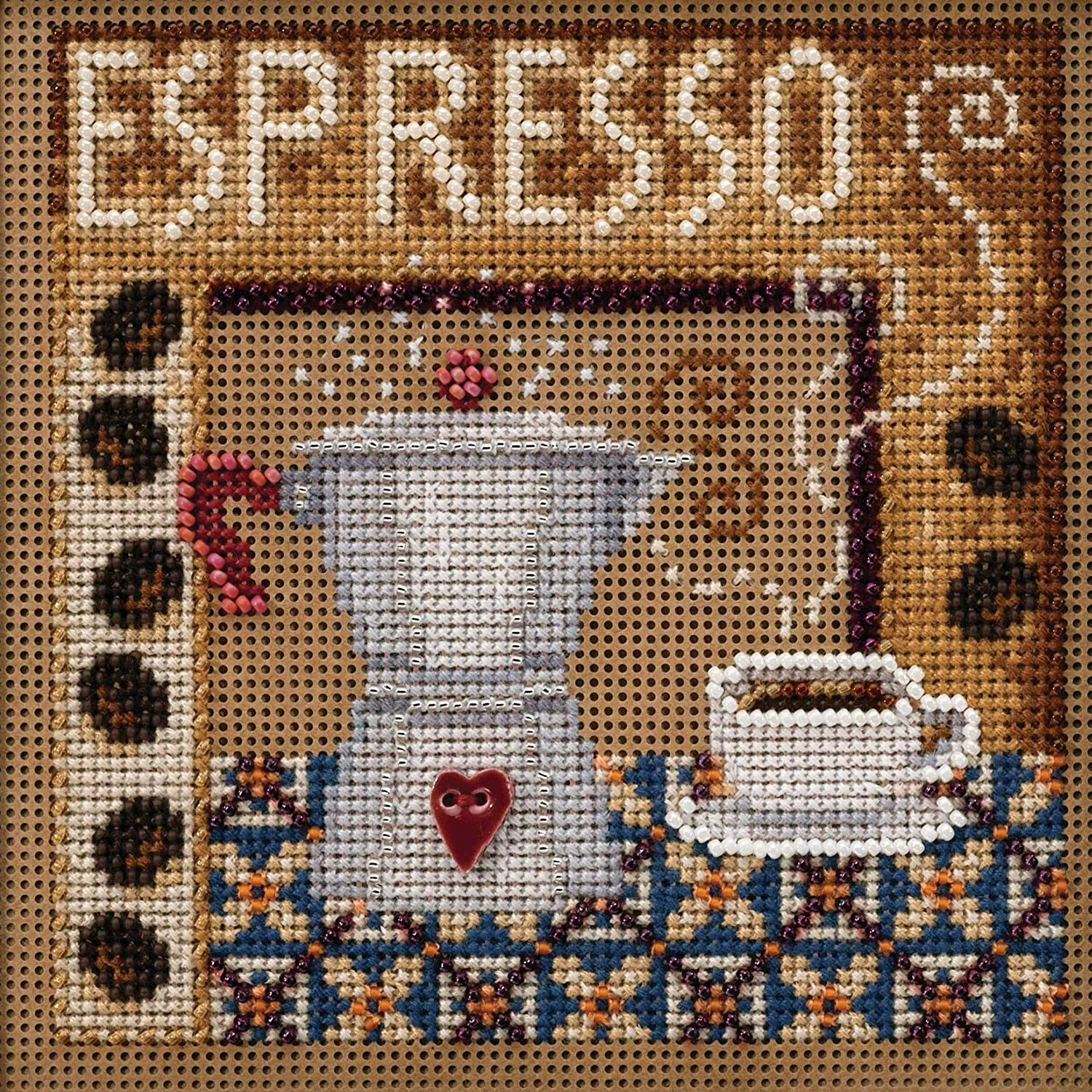 14 Count Mill Hill Buttons /& Beads Counted Cross Stitch Kit 5X5-Espresso