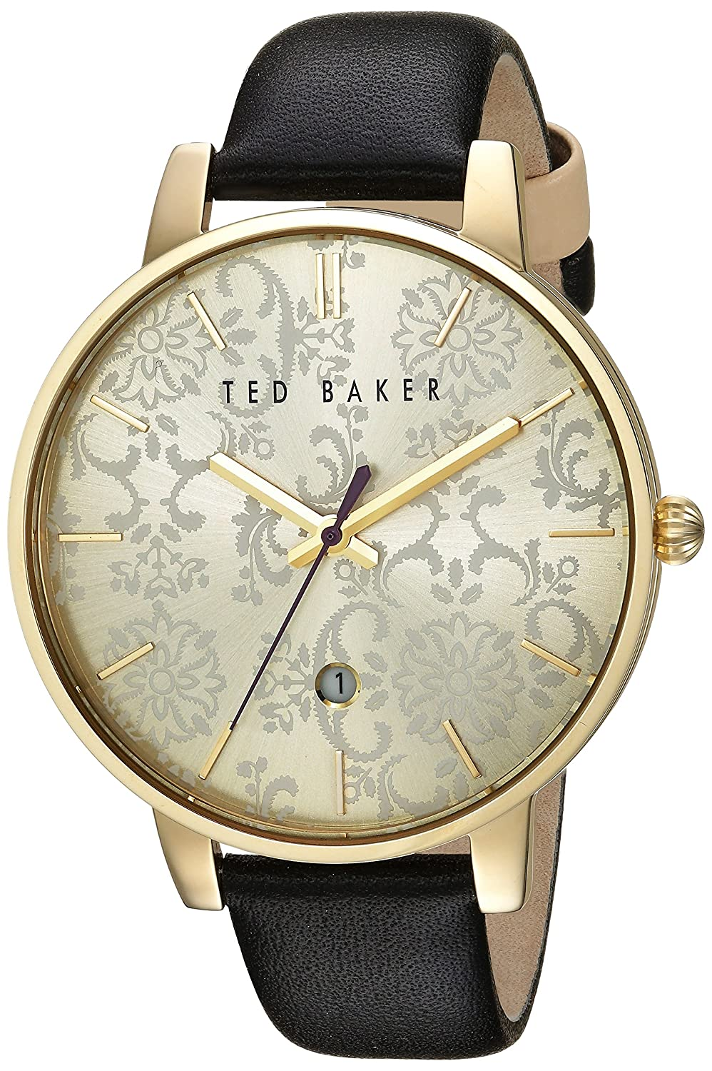 Damen Damen Gold Tone Quarz Akku Ted Baker Fashion Uhr an Lederband mit Datum. te10030694