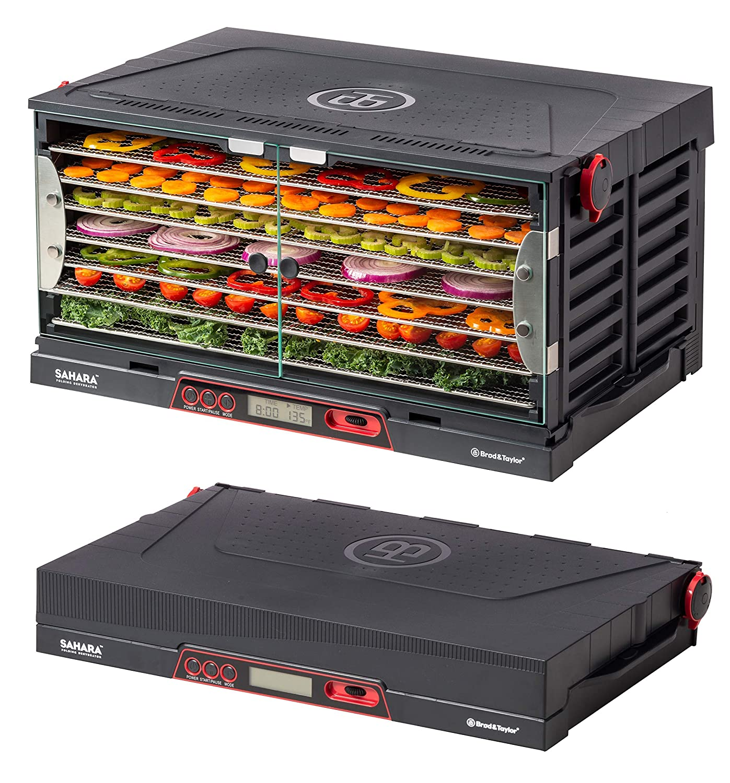 Brod & Taylor SAHARA Folding Food Dehydrator, Beef Jerky, Fruit Leather, Vegetable Dryer (Stainless Steel Shelves) (Renewed)