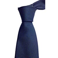 Blacksmith Slim Navy Blue Polka Dot Formal Tie for Men - Navy Blue Jacquard Necktie for Men - Blue Formal Ties for Men
