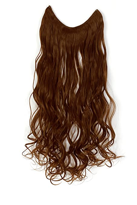 Amazon onedor 20 curly synthetic hair extensions amazon onedor 20 curly synthetic hair extensions transparent wire no clips 20 curly 12 light brown beauty pmusecretfo Choice Image