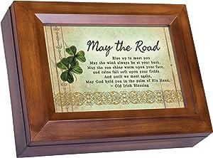 Cottage Garden Old Irish Blessing Woodgrain Digital Keepsake Music Box Plays Lean On Me