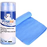 """Polar Air - Cooling Towel for Instant Relief - 32""""x7""""- Stay Cool for Bowling Fitness Yoga Travel Camping Golf Football & Outdoor Sports Neck Headband Bandana Scarf"""